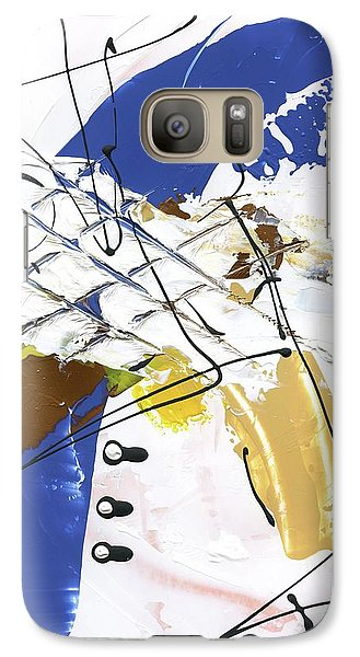 Galaxy Case featuring the painting Three Color Palette Blue 3 by Michal Mitak Mahgerefteh