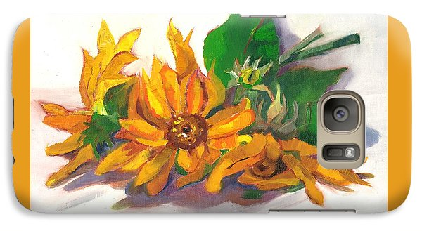 Galaxy Case featuring the painting Three Sunflowers by Susan Thomas