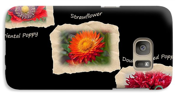 Galaxy Case featuring the photograph Three Tattered Tiles Of Red Flowers On Black by Valerie Garner