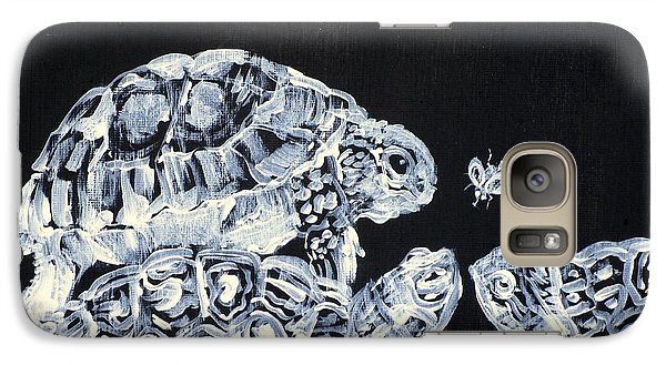 Galaxy Case featuring the painting Three  Terrapins And One Fly by Fabrizio Cassetta