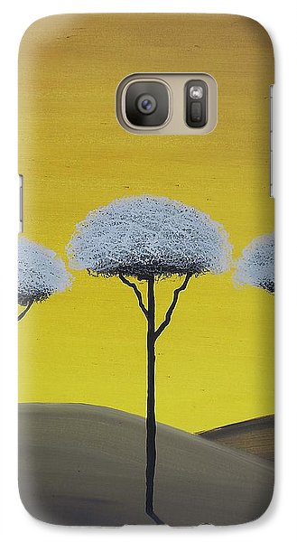 Galaxy Case featuring the painting Three Trees  by Edwin Alverio