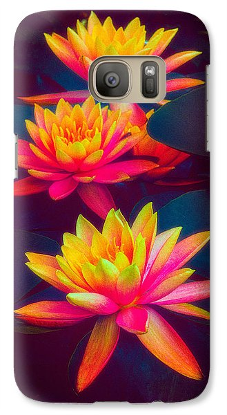 Galaxy Case featuring the photograph Three Waterlilies by Chris Lord