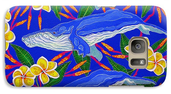 Galaxy Case featuring the painting Three Whales  by Debbie Chamberlin