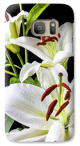 Lily Galaxy S7 Case - Three White Lilies by Garry Gay