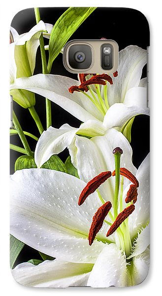 Three White Lilies Galaxy Case by Garry Gay