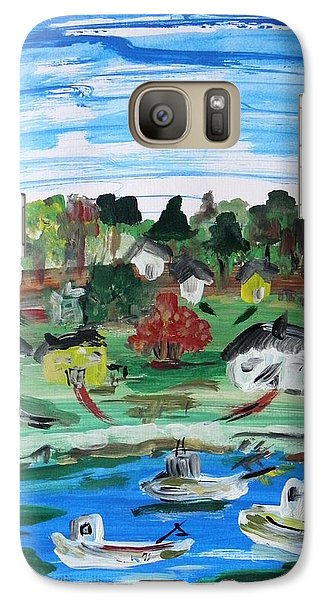 Galaxy Case featuring the painting Three Work Boats Return by Mary Carol Williams