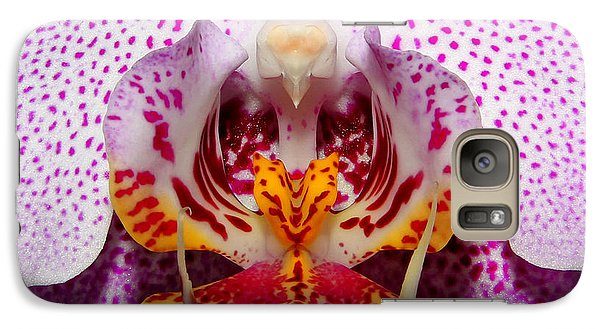 Galaxy Case featuring the photograph Throat Of An Orchid by Judy Vincent