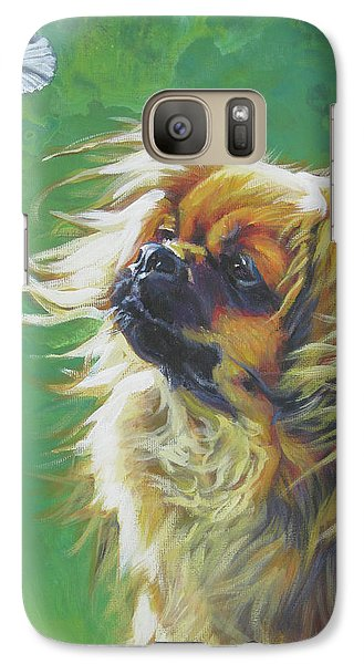 Tibetan Spaniel And Cabbage White Butterfly Galaxy S7 Case