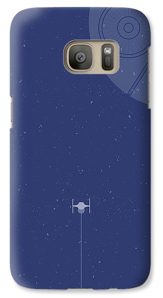 Space Ships Galaxy S7 Case - Tie Fighter Defends The Death Star by Samuel Whitton