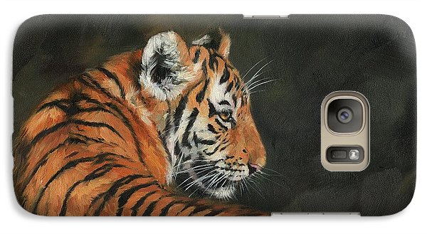 Galaxy Case featuring the painting Tiger At Night by David Stribbling