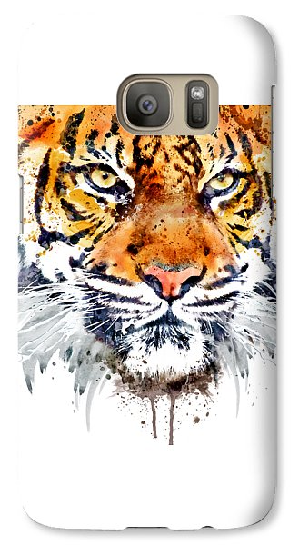 Galaxy Case featuring the mixed media Tiger Face Close-up by Marian Voicu