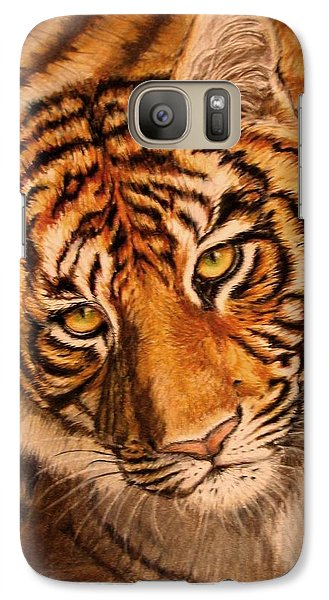 Galaxy Case featuring the drawing Tiger by Karen Ilari