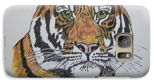 Galaxy Case featuring the painting Tiger by Kathy Marrs Chandler