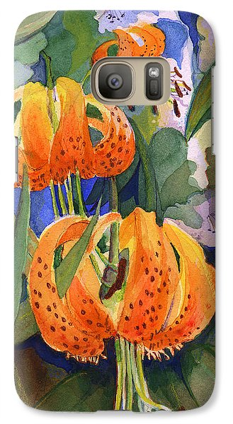 Galaxy Case featuring the painting Tiger Lily Parachutes by Nancy Watson