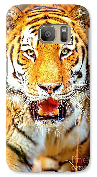 Tiger On The Hunt Galaxy S7 Case by David Millenheft