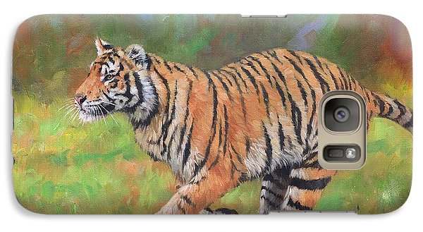 Galaxy Case featuring the painting Tiger Running by David Stribbling
