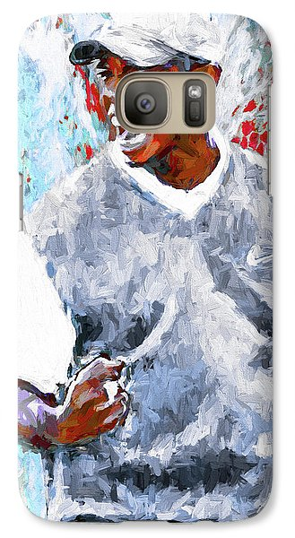 Galaxy Case featuring the photograph Tiger Woods One Two Red Painting Digital by David Haskett