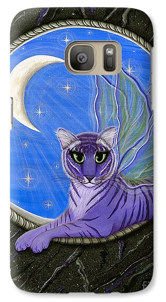 Galaxy Case featuring the painting Tigerpixie Purple Tiger Fairy by Carrie Hawks