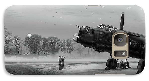 Galaxy Case featuring the photograph Time To Go - Lancasters On Dispersal Bw Version by Gary Eason