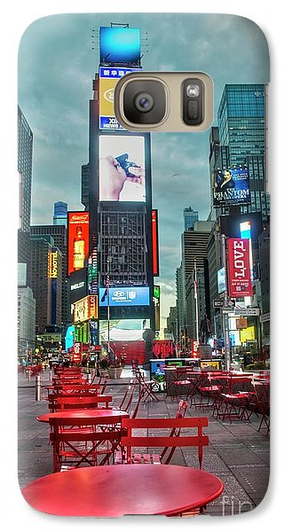 Galaxy Case featuring the digital art Times Square Tables by Timothy Lowry