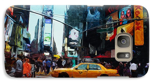 Times Square Galaxy S7 Case - Times Square Taxi- Art By Linda Woods by Linda Woods