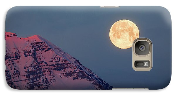 Galaxy Case featuring the photograph Timpanogos With The Pink Moon. by Johnny Adolphson