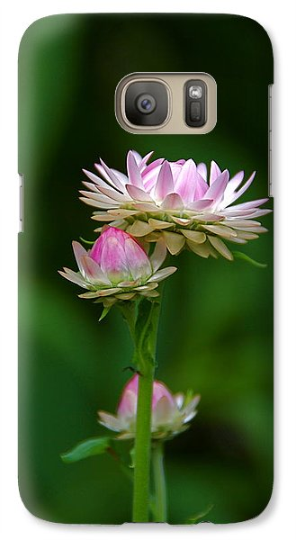 Galaxy Case featuring the photograph Tiny Dahlias Green Aura by Byron Varvarigos