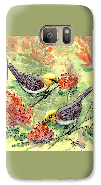 Galaxy Case featuring the painting Tiny Verdin In Honeysuckle by Marilyn Smith