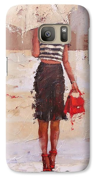 Galaxy Case featuring the painting Tip Toe by Laura Lee Zanghetti