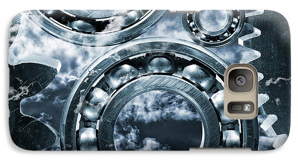 Galaxy Case featuring the photograph Titanium Gears Against Storm Clouds by Christian Lagereek