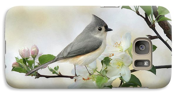 Galaxy Case featuring the mixed media Titmouse In Blossoms 1 by Lori Deiter