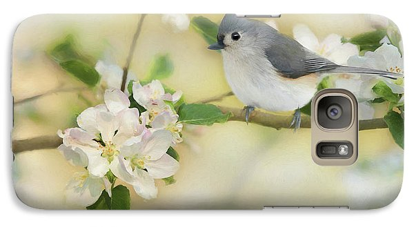 Galaxy Case featuring the mixed media Titmouse In Blossoms 2 by Lori Deiter