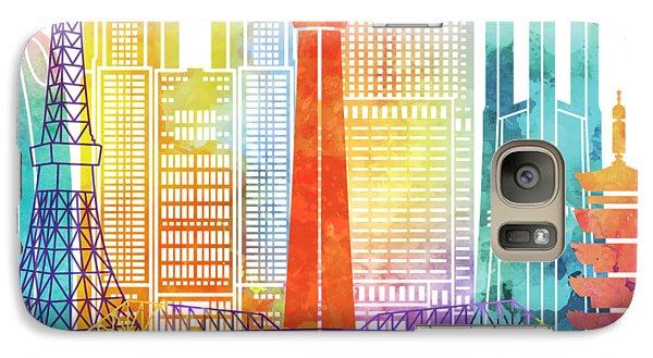 Tokyo Skyline Galaxy S7 Case - Tokyo Landmarks Watercolor Poster by Pablo Romero