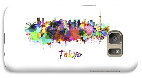Tokyo Skyline Galaxy S7 Case - Tokyo V2 Skyline In Watercolor by Pablo Romero
