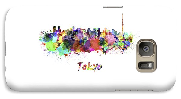 Tokyo V2 Skyline In Watercolor Galaxy S7 Case by Pablo Romero