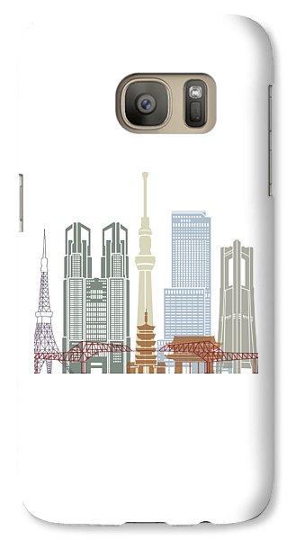 Tokyo V2 Skyline Poster Galaxy Case by Pablo Romero