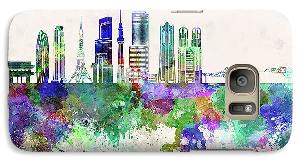 Tokyo V3 Skyline In Watercolor Background Galaxy S7 Case by Pablo Romero