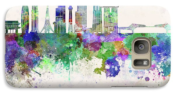 Tokyo V3 Skyline In Watercolor Background Galaxy S7 Case
