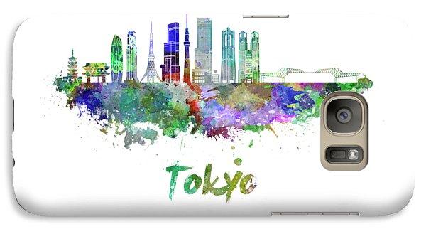 Tokyo V3 Skyline In Watercolor Galaxy S7 Case by Pablo Romero