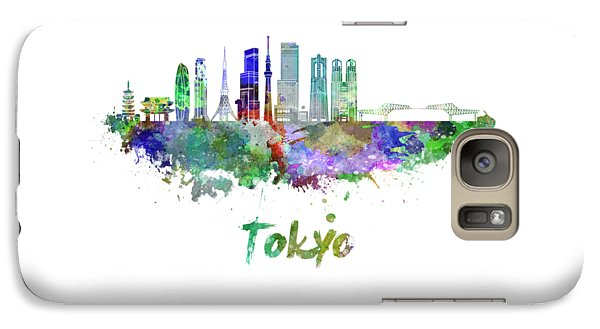 Tokyo V3 Skyline In Watercolor Galaxy S7 Case by Pablo Romero