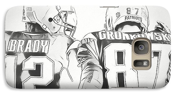 Galaxy Case featuring the drawing Tom Brady Rob Gronkowski Sketch by Dan Sproul