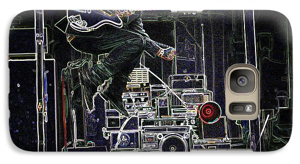 Galaxy Case featuring the mixed media Tom Waits Jamming by Charles Shoup