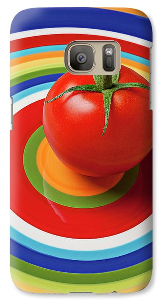 Vegetables Galaxy S7 Case - Tomato On Plate With Circles by Garry Gay