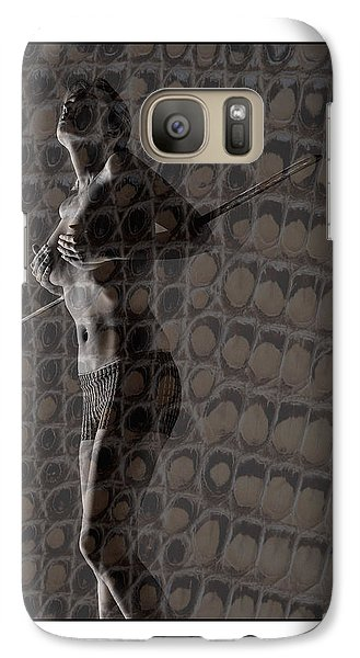 Galaxy Case featuring the photograph Topless Girl With African Spear by Michael Edwards