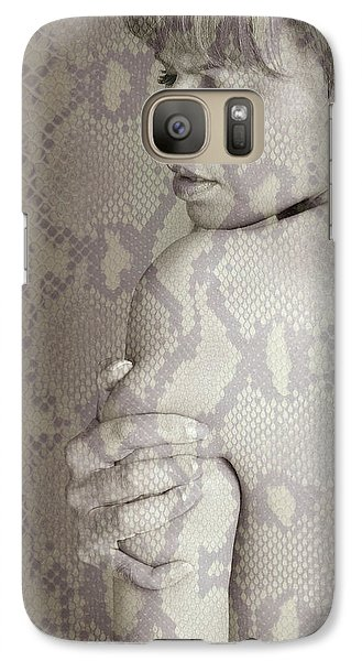 Galaxy Case featuring the photograph Topless Woman Holding Her Arm by Michael Edwards