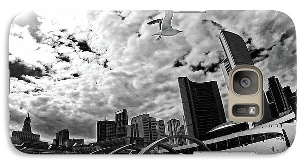 Galaxy Case featuring the photograph Toronto City Hall Square With Gull by Charline Xia
