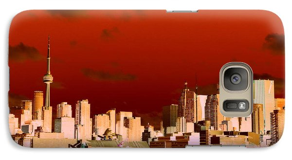 Galaxy Case featuring the photograph Toronto Red Skyline by Valentino Visentini