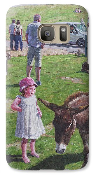 Galaxy Case featuring the painting Tourists At Boltons Bench New Forest  by Martin Davey