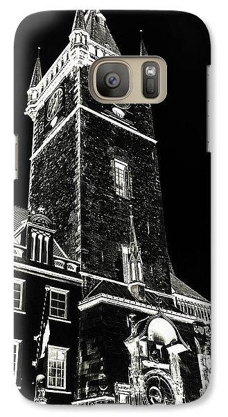 Galaxy Case featuring the photograph Tower Of Old Town Hall In Prague. Black by Jenny Rainbow