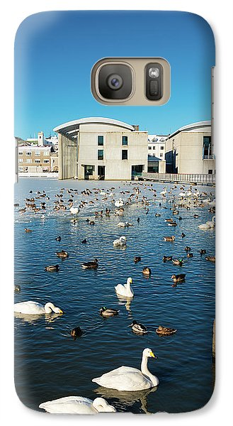Galaxy Case featuring the photograph Town Hall And Swans In Reykjavik Iceland by Matthias Hauser